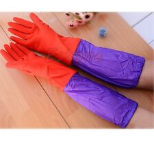1 Pair Kitchen Wash Dishes Cleaning Waterproof Long Sleeves Rubber Latex Gloves