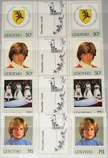 LESOTHO 1982 393-96 372-75 gutter Princess Diana 21st Birthday Coat of Arms MNH