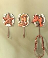 3Pc Western Cowboy Horseshoe Wall Hooks 3D Star Boot Wall Art Wall Hangers