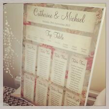 1 Floral Shabby Chic A3 Wedding Table Seating Plan - UNBACKED