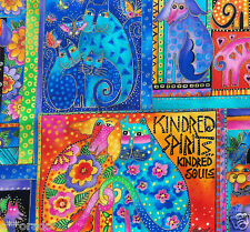 ~Kindred Spirits~ Laurel Burch Felines & Canines Bright Fabric Panel Cats 2005