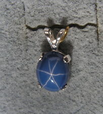 LINDE LINDY 10X8MM 3+ CT CORNFLOWR BLUE STAR SAPPHIRE CREATED 925 S/S PENDANT
