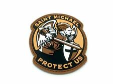 Saint Michael Protect Us Crusader Dark Earth PVC Airsoft Velcro Patch