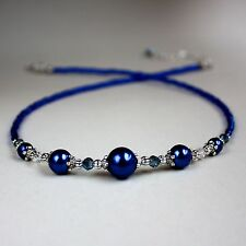 Midnight blue pearls crystal silver collar choker vintage style beaded necklace