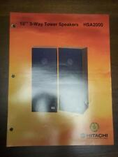 Hitachi Brochure~HSA2000 Tower Speakers~Catalog Insert~Specifications