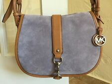Michael Kors Jamie Large Saddle Bag Lilac Suede & Leather Messenger Crossbody