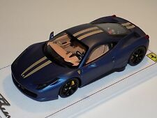 1/18 BBR Ferrari 458 Italia in Matt AbuDhabi Blue with Gold Stripe Black Wheels