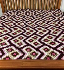 Crochet Granny Square Blanket Afghan on Point Pink Brown King Size Bedspread