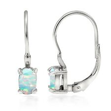 925 Sterling Silver Created Opal Oval Leverback Earrings