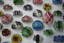 Jewelry Lot 20pcs Huge Crystal Rhinestone Silver P Women's Multicolor Charm ring