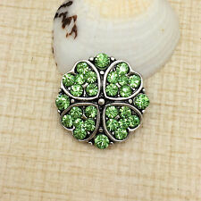 NEW Rhinestone Green Hearts Charm Chunk Snap Button fit for Noosa Bracelet IOO45