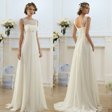 Stock White/ivory lace chiffon Wedding dress Bridal Gown Bridesmaid size 6-18