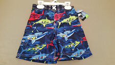 new joe boxer toddler blue shark print swim trunks. size 3T