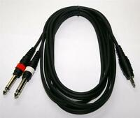 "Pulse 3.5mm Stereo Jack to 2 x 6.35mm 1/4"" Mono Jacks Cable 3m"
