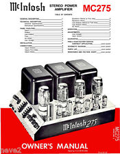 McINTOSH MC275 VACUUM TUBE STEREO POWER AMPLIFIER OWNER'S MANUAL