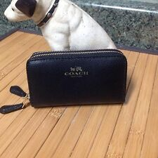 "NWOT Coach Black Saffiano Leather Double Zip Accordian Wallet ~ 4.5"" X 2.5"" X 1"""