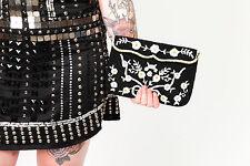 Beautiful vintage black & white beaded evening bag clutch shoulder floral