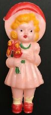 Gorgeous Vintage 1940s Doll  Rattle - Girl with Flowers... 9cm tall