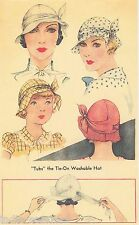 Vintage Women's McCall 1930's Hat Reproduction Sewing Pattern # 112 PDF download