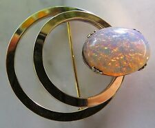 Vintage 1/20 12K Gold Filled Double Ring Circle Brooch/Pin Faux Opal