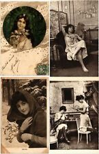 LADIES GLAMOUR FEMMES MOSTLY REAL PHOTO 62 Vintage Postcards Mostly pre-1940