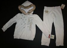 New OshKosh Warm Cozy Ivory Faux Fur Hoodie Sweatpants Ourfit Set Size 4T NWT