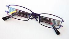 Auffallende Brille Lila Metallgestell Fassung breite Design Bügel occhiali Gr M