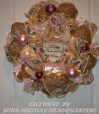 Valentine's Day Shabby Chic  Led  Timer Lighted  Deco Mesh Wreath Pearls Ribbon