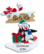 North Pole PENGUIN Personalized Christmas Ornament Polymer Clay by Deb & Co.