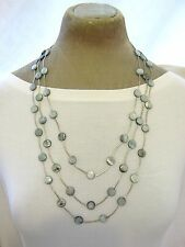 "30"" Hand crafted Fair Trade silver tone Grey Real Shell Multi 3 Row Necklace New"