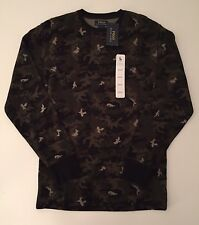 NWT Men's Ralph Lauren Polo Long Sleeve Waffle Shirt, Black Green Camoflauge M