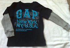 GAP NEW YORK Large Logo Grey & Navy Top T Tshirt - XS Age 4 - 5
