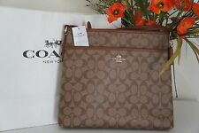 NWT COACH F34938 Signature File Bag Crossbody Handbag  Khaki/Saddle  $225.00