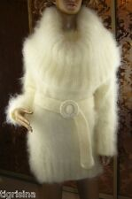 Mohair Hand Knitted Fluffy White Cream Cowl Neck Sweater Jumper ,  size L