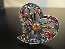 NYC OVERSIZED COSTUME RING RAINBOW COLORS RHINESTONE FLOATING HEART SILVER  ADJ