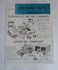 Raro francés Corgi Toys/Playcraft carta de noticias, con fecha de noviembre de 1968-Excelente.