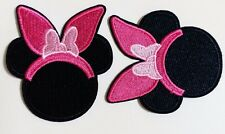 Minnie Mouse Easter Bunny Ears Pink Bow Iron On  DIY Applique Sewing 2 3/4""
