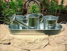 4 Pc.Galv. Metal Herb Set w/Watering Can 2 Grow Pails & 1 Tray~Home/Garden/Decor