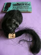 Shrunken Head vintage novelty rubber toy Japan unused with header card