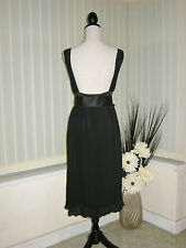 18 DEFINITIONS 40'S STYLE BLACK BACKLESS DRESS FINE PLEAT + BELT PARTY SALE