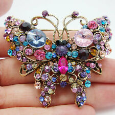 Gold-Tone Butterfly Insect Multi-color Rhinestone Crystal Animal Brooch Pin