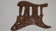 "Leather pickguard Fender Stratocaster hand tooled ""Floral Riffs"" Brown & black"