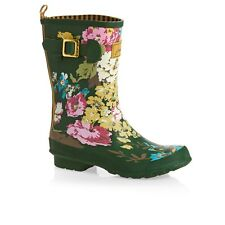 *New* Joules Molly Wellington Boots Green Floral  ~ UK Size 5
