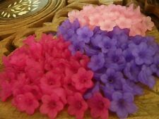 150 Frosted Flower Acrylic Beads Mix of Deep Pink, Purple, Light Pink 13mm x 7mm