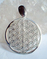 Large Polished 925 Silver Flower of Life Pendant~Sacred Geometry~Reiki~Jewellery