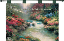 Beside Still Waters Tapestry Wall Hanging w/Verse ~ Artist, Thomas Kinkade