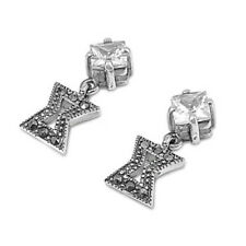 Square Cubic Zirconia Marcasite Earrings Sterling Silver 925 Vintage Jewelry