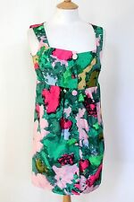 Balenciaga Paris Green Floral Print Silk Button Dress Sz 38 uk10