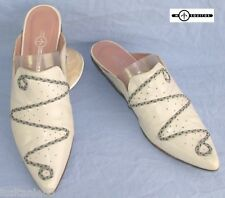 MOSQUITOS BACKLESS SHOE TYPE BABOUCHE ALL LEATHER LIGHT GRAY 39/39.5