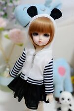 05#Girl White&Black 2pc Strip Hoodie/Dress/Outfit 1/3 SD AOD DOD DZ BJD Dollfie